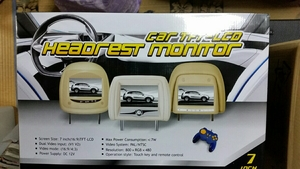 値下げ car TFT LCD ヘッドレストモニター 7インチ(グレー)