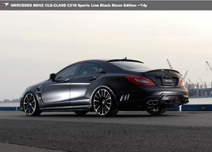 【 WALD BlackBison Edtion 】 Mercedes-Benz W218 C218 CLSクラス FRP製 リアバンパー スポイラー LEDランプ ネット付属 ブラックバイソン
