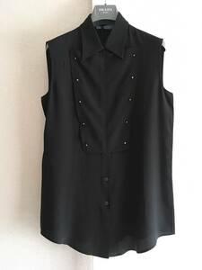 新品 プラダ 最高級 シルク ノースリーブ シャツ ブラウス 40 PRADA イタリア製 黒 ブラック モード コレクション