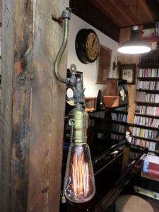 1930s米国ヴィンテージガス灯ペンダントランプ♪男前 工業系照明インダストリアルスチームパンクブラケットライトレトロアトリエ店舗カフェ