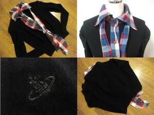 本物 名作 Vivienne Westwood ヴィヴィアンウエストウッド チェック柄 オーブ刺繍 カーディガン 1