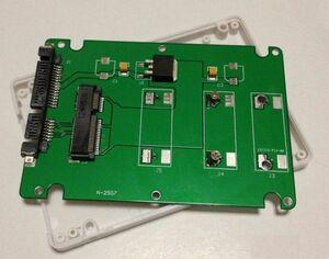 送料187円! mSATA(Mini SATA)50mm→2.5インチSATA 7mm厚 SSD変換ケース