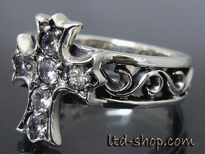 Another Note ▼ (DB035) C28 Flare Cross Silver CZ Ring New