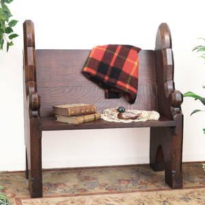 イギリスの教会で使われていたベンチ 英国アンティーク家具 J-0507