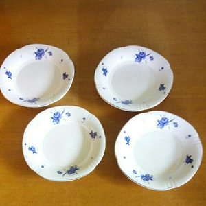 昭和レトロ■IVORY 花柄 デザートプレート 4枚