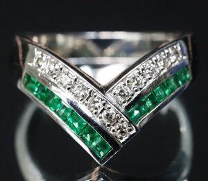 綺麗 プラチナ 天然 エメラルド 0.27ct 天然 ダイヤモンド 0.12ct V字 リング サイズ12号 Pt900 指輪【即決】