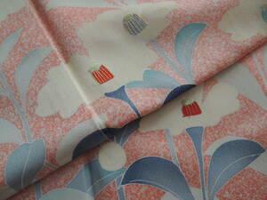 【正絹・刺繍・花】丈160・裄65・未使用・美品