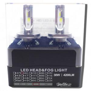 ホンダ バモス HM1/HM2系用 スマートLEDキット 2灯1セットTypeBlue 30W H4ハイロー切替 【永年保証付】