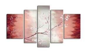 【受注制作】アートパネル 『桜の花Ⅲ』 25x90cm他、計5枚組 手書き