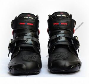 ライディングシューズ オンロード レーシングブーツ メンズ バイク用ツーリング プロテクト オートバイ靴 ショート  黒・43サイズ/265mm