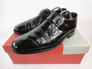 【リーガル】本物 REGAL 靴 25cm 黒 モンクストラップ ビジネスシューズ 本革 レザー 男性用 メンズ 日本製 箱有