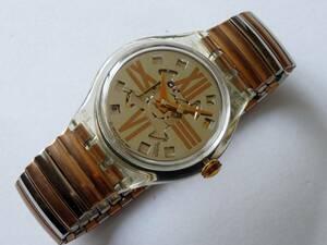 未使用 94年オートマチック 裏スケルトン 珍品蛇腹ベルト スウォッチ Swatch Copper Rush 品番:SAK107 ベルトサイズスモール
