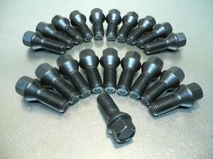 ●●●新品 M14ピッチ1.25 ブラック ホイールボルト 60テーパー 首下長さ:33mm 20本