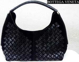 BOTTEGA VENETAイントレチャートセミショルダーバッグ黒スエード×シープスキン Hoboホーボー編み込みハンドバッグ145701ボッテガヴェネタ