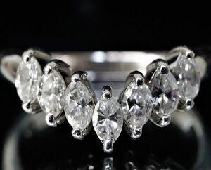 プラチナ 天然 マーキスカット ダイヤモンド 0.66ct V字 デザイン リング 14号 ■Pt900 白金 指輪 【即決・送料無】