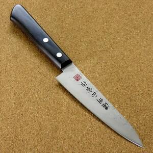 関の刃物 ペティナイフ 12cm (120mm) 濃州正宗作 梨地 ステンレス 黒合板 果物包丁 果物の皮むき フルーツの飾り切り 小型ナイフ 日本製