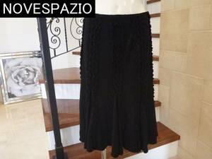 2.5万新品NOVESPAZIOノーベスパジオ 黒 ブラック フレンチフリル スカート 38  M相当