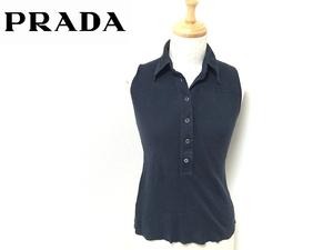 正規プラダ ノースリーブ シャツ 40 レディース 紺ネイビー トップス PRADA *2