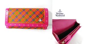 ヴィヴィアン ウエストウッド アクセサリーズVivienne Westwood Accessories【新品・タータンチェック】フラップ長財布*ピンク*日本製