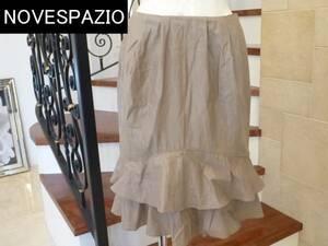 2.5万NOVESPAZIOノーベスパジオ グレー 光沢感 裾フリル スカート 38  M相当
