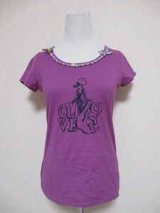 ★ KUMIKYOKU  ★ オリーブのプリント  半袖Tシャツ 2 パープル(0424)