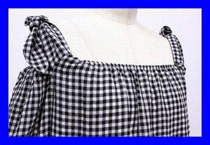 ●美品 マジェスティックレゴン MAJESTIC LEGON シャツ オフショルダー 半袖 S ギンガムチェック グレー 白 ホワイト 黒 ブラック F4185