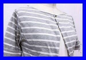 ●美品 マジェスティックレゴン MAJESTIC LEGON Tシャツ カットソー プルオーバー 半袖 丸首 Mサイズ ボーダー グレー 白 ホワイト F4183