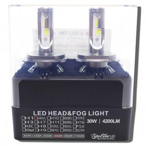 ホンダ フィット GE系用 スマートLEDキット 2灯1セットTypeBlue 30W H4ハイロー切替 【永年保証付】