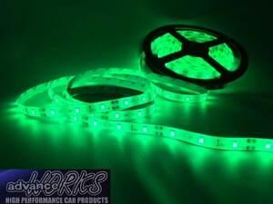 緑グリーン 60センチLEDチューブライト 防水 12V車用 カット可能 3M両面テープ付 バイク アンダーネオン 室内 ドアランプ テープライト