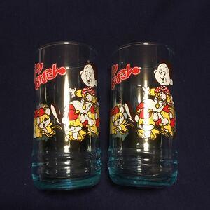 昭和レトロ 激レア希少非売品 明治スカット スプーンおばさん グラス コップ タンブラー 2個セット デッドストック品