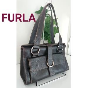 正規 Furla フルラ 上質 ヴィンテージ レザー 肩掛け ショルダーバッグ ハンドバッグ 黒 ブラック ダーク ブラウン イタリア製