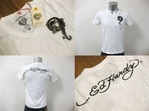 本物 新品 エドハーディー Ed Hardy 刺繍 Vネック 半袖 Tシャツ ホワイト S
