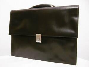 dunhillダンヒル レザーブリーフケース FRANCE製 ダークブラウン 濃茶色 ビジネスバッグ