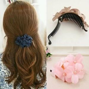 花柄 バナナクリップ クリップ バレッタ ヘアアクセサリー 髪留め ピンク