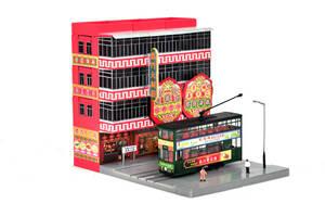 1/150■Nゲージ■ジオラマ 香港 建物 二階建て 路面電車 トラム 人形 情景■BC-91504