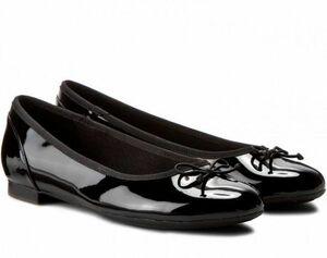 送料無料 Clarks 26.5cm フラット パテント レザー ブラック 黒 バレエ シューズ ローファー クラシック パンプス ブーツ サンダル 802