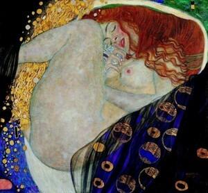 グスタフ・クリムト ダナエ 1907-1908年 プライベートコレクション 絵画風 新素材壁紙ポスター 641×594mm(はがせるシール式)005S1