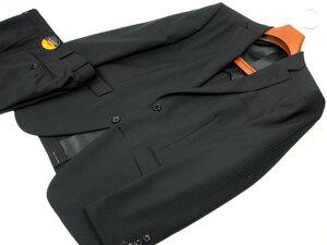新品 春夏 AB4 身長165㎝ 胴囲84㎝ 2ボタン ノータック スリムスーツ ストライプ 黒ブラック c111