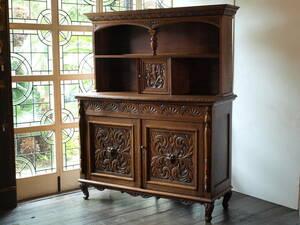 ■英国 アンティーク家具 美しい彫刻 オーク サイドボード9-202a イギリス ■送料無料