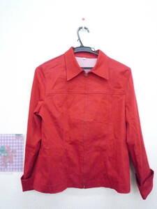 ★ フロントジップアップ ジャケット ストレッチ素材 赤 サイズ9号