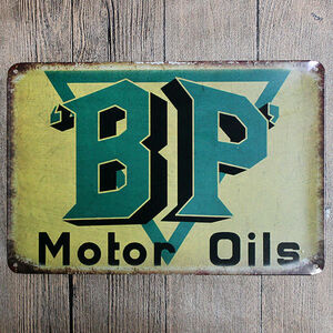ブリキ看板20×30cm BP モーターオイル エンジン 石油 アメリカンガレージ看板 インテリア・アンティーク雑貨 ★TINサイン★