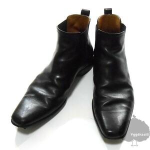 YGG★本物 LOUIS VUITTON ルイヴィトン サイドゴア ブーツ レザー 黒 7.5 ショート丈 シューズ LV 革 靴