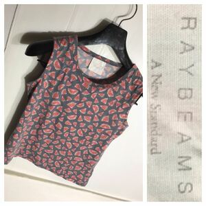 RAYBEAMS ビームス スイカ カット柄 総柄 ポリ綿 タンクトップ 青紫 ウォーターメロン