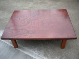 中古 欅 /ケヤキ 突板 座卓 ちゃぶ台 テーブル 折りたたみ 脚折れ 角座卓