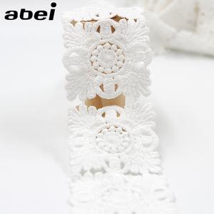 ホワイト刺繍フラワーレース 白 cm 3.8cm * 1.8m