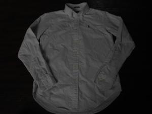 ★ラルフ★US2/M 水色×白のストライプの長袖オックスフォードシャツ 送料215円 美品