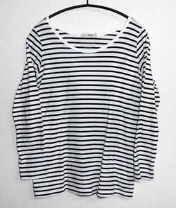 美品 niko and.../ニコアンド スーピマコットン100% ボーダー柄 カットソー 長袖Tシャツ 3 白×黒