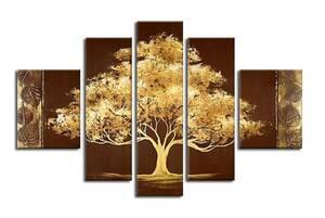 【受注制作】アートパネル 『金色の木』 20x50cm、2枚他、計5枚組 手書き