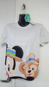 新品 未使用 タグ付き ディズニーシー TDS スプリング ヴォヤッジ ミッキー ダッフィー 柄 Tシャツ 140サイズ