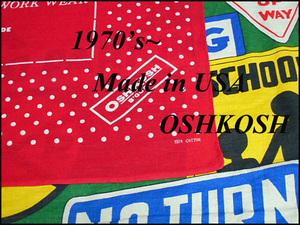 ★雰囲気◎な1枚★Made in USA製アメリカ製OSHKOSHオシュコシュビンテージコットン宣伝広告プリントバンダナ70s70年代ノベルティードット柄